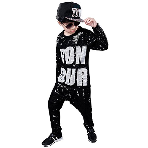 Girls Boys Sequin Hip Hop Dance Costumes Ballroom Modern Jazz Clothing Top Pants (Black, (Hip Hop Dancer Halloween Costumes)