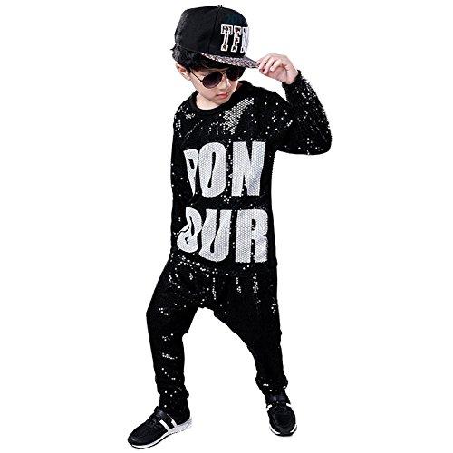 DREAMOWL Girls Boys Sequin Ballroom Modern Jazz Hip Hop Dance Costumes Clothing Top Pants (Black, -