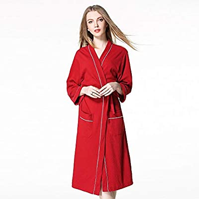 KASAAS Bathrobes for Couple Lengthened Coralline Plush Shawl Solid Long Sleeve Tie Front Contrast Trim Robe Tops Coat