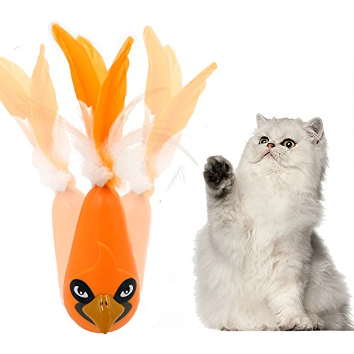 Electronic Toys For Cat Feather Automatic Interactive Best Shake Tumbler Toy For Indoor Cats Entertainment Exercise Interactive Play For Kitty Kitten - FIRIK- Orange