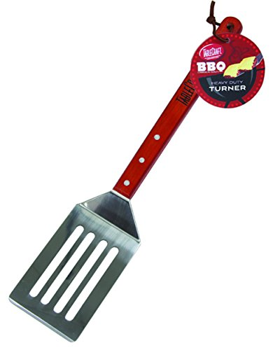 TableCraft BBQS BBQ Stainless Steel Long Handled Turner with Wood Handle, 19-Inch, Silver