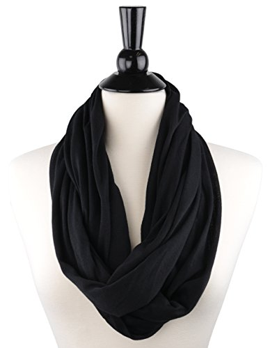 Pop Fashion Scarves for Women, Girls, Ladies, Infinity Scarf with Zipper Pocket Pattern Print Lightweight Wrap - $44.99 (Black, Medium)