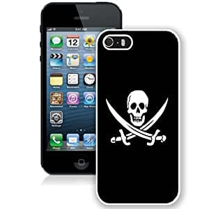 Fashionable Custom Designed iPhone 5S Phone Case With Jolly Roger Pirate Skull Black And White_White Phone Case