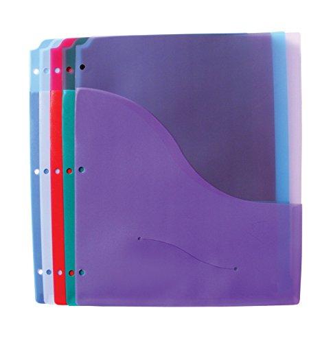 School Smart Polypropylene Folder Pages with Diskette Pocket - Pack of 5 - Assorted (Diskette Pockets)