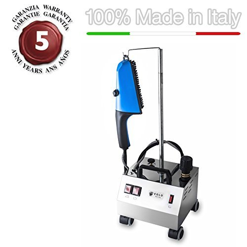 EOLO Steam brush for vertical ironing with energy saving copper boiler and external anti-scale resistor AV02 INOX Pro1 - 110-120 Volts by EOLO H&P