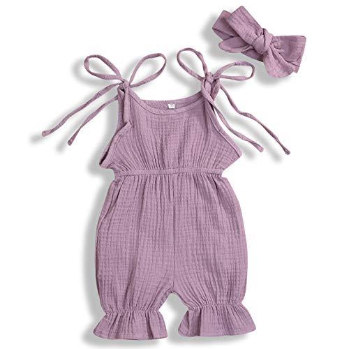 GSHOOTS Newborn Baby Girls' Sleeveless Romper Ruffle Jumpsuit Strap Onesies Linen Bodysuit (70/0-6 Months, Palisade Orchid) ()