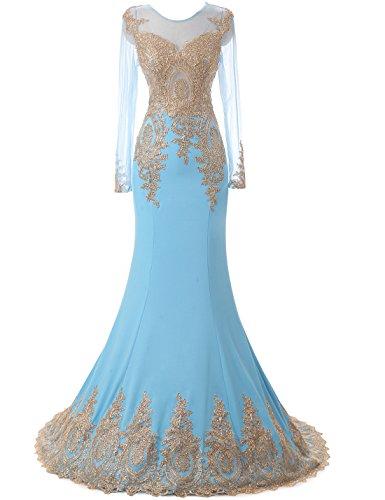 Erosebridal Long Sleeve Evening Dress Sexy Mermaid Prom Dress Size 4 Light Blue (Light Blue Mermaid Dress compare prices)