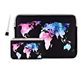 13 Inch Laptop Sleeve Bag MacBook Air 13 Inch Sleeve MacBook Pro 13 Inch Protective Neoprene Sleeve Laptop Sleeve 13 Inch Electronics Accessories Organzier Bag Carry Case Pouch (Map Pattern Black)