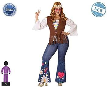 Atosa-61660 Atosa-61660-Disfraz Hippie-Adulto XXL- Mujer- marrón ...
