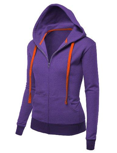 J.TOMSON Womens Basic Long Sleeve Zip-Up Hoodie HEATHER ACAI SMALL