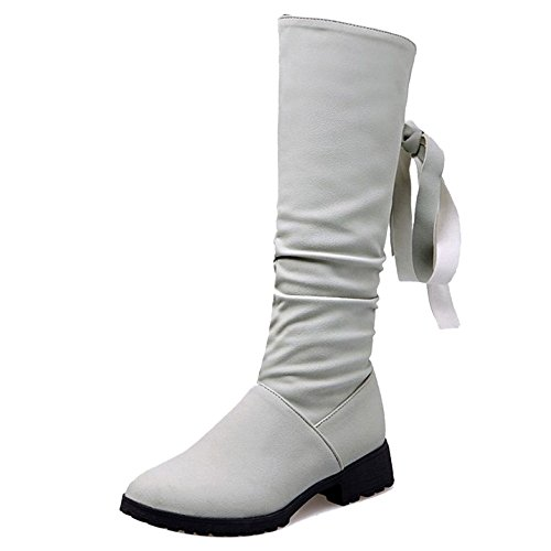 Mid Low 5 Women 26 Grey COOLCEPT 7 5 CM Zip Boots Heel High Comfort UK Bowknot H1fRwqxX