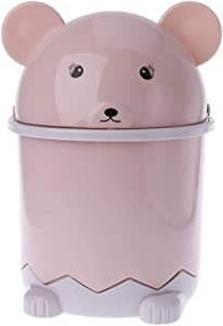 Oranmay Mini Bear Waste Bin Desktop Garbage Basket Table Home Trash Can Swing Lid 1.5L (Pink)