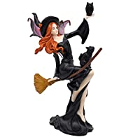 """Comfy Hour 9"""" Dark Fairy Witch and Black Cat On Broom Polyresin Figurine, Halloween Theme Gift"""
