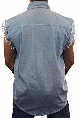 LIGHT DENIM Basic Plain Sleeveless Denim Biker Shirt (3X)
