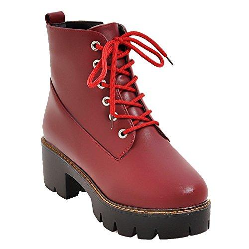 Mee Shoes Damen chunky heels Plateau Reißverschluss Stiefel Rot