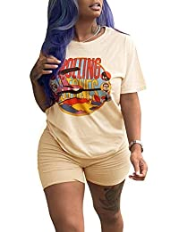 ac5bc0686e1 Women Casual 2 Piece Outfit Short Sleeve Cartoon Print T-Shirts Bodycon Shorts  Set Jumpsuit