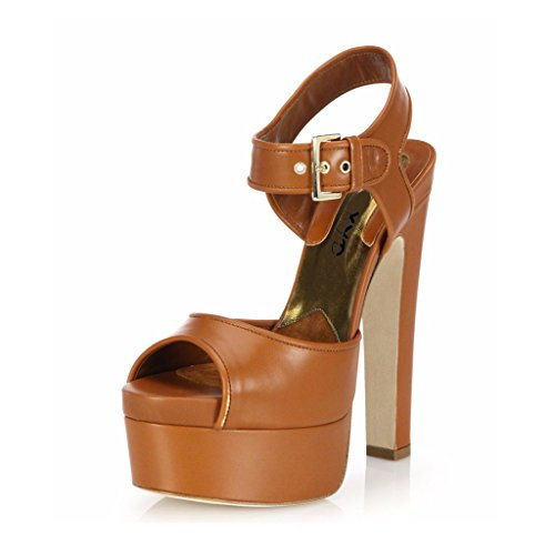 - XYD Club Chunky High Heel Platform Sandals Peep Toe Slingback Shoes Wide Ankle Strap Sexy Pumps Size 8.5 Chocolate
