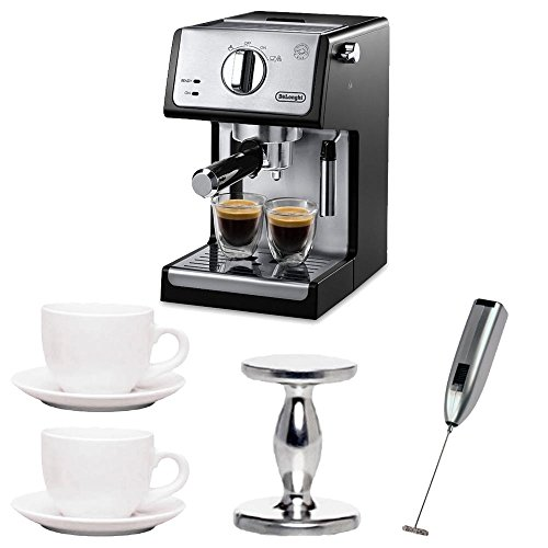 De'Longhi ECP3420 15″ Bar Pump Espresso and Cappuccino Machine (Black) Includes Espresso Tamper and Milk Frother and Cup and Saucer