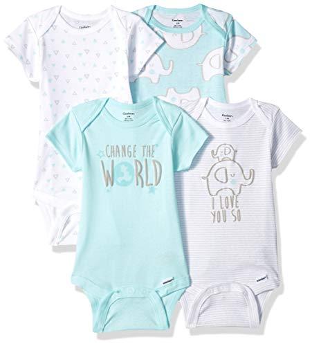 Gerber Baby 4-Pack Short-Sleeve Onesies Bodysuit, Elephant Love, 0-3 Months ()