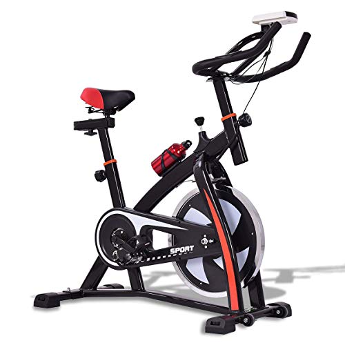 GOPLUS Adjustable Exercise Bike, Stationary Bike, Indoor Cycle Bike, Trainer for Workout Fitness (Best Budget Stationary Bike)