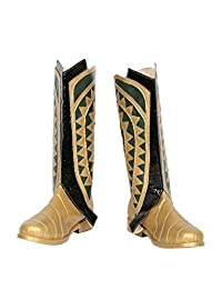 Aquaman Boots Deluxe Black Golden Cosplay Costume Accessory Adult Shoes