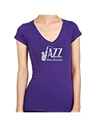 JAZZ New Orleans Hand-made Silver Foil Print Women's T-Shirts