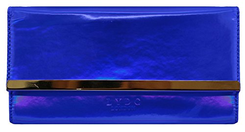 LYDC Glamour Perla-efecto Brillante Con Dorado Matinee Ajuste De Embrague Blue