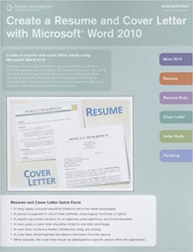 Create a resume and cover letter with microsoft word 2010 create a resume and cover letter with microsoft word 2010 coursenotes 1st edition spiritdancerdesigns Images