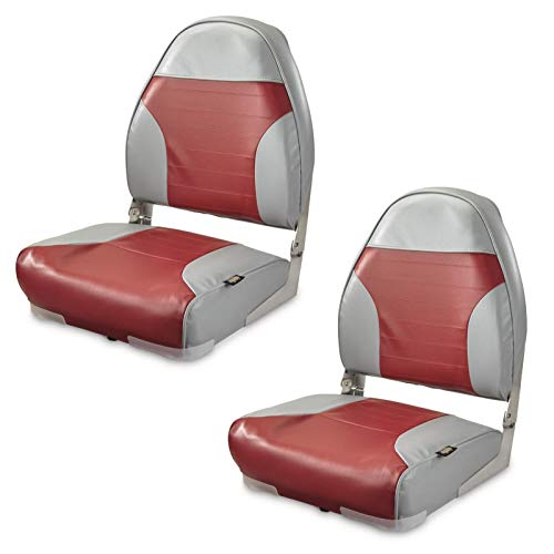 K-AXIS Set of 2 High Back Fold Down Marine Boat Seats - Perfect for Bass Fishing and Pontoon Boating (Gray/Red)