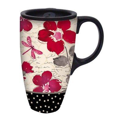 17 oz. Floral Symphony Ceramic Latte Travel Cup with Gift Box by Gifted Living (Ceramic Latte Travel Mug)