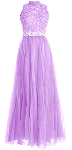 MACloth Women High Neck Lace Tulle Long Prom Dress Wedding Party Formal Gown Lavanda