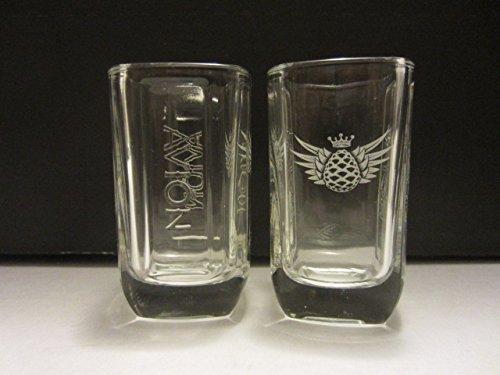 Set of 2 Avion Premium Tequila Jalisco Mexico Raised Letters Agave Logo Square Shot Glasses