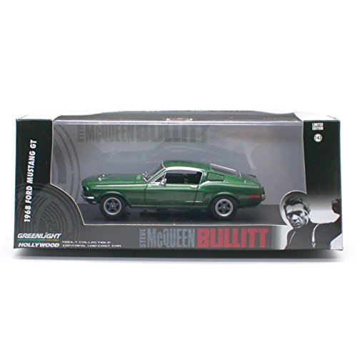 Greenlight 1968 FORD MUSTANG GT from the movie BULLITT Hollywood * 2015 Collectibles Limited Edition 1:43 Scale Die-Cast Vehicle & Custom Display Case