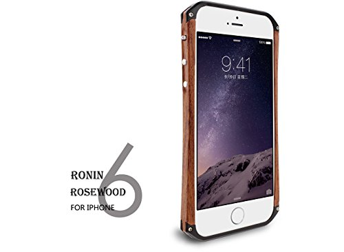 iPhone 6 Case, Pear Wood Aluminum Metal Bumper Hard Case Cover For iPhone 6 4.7inch -Black