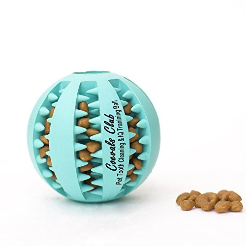 Interactive Treat Toy (Coevals Club Pet Dog Treat Slow Feed Ball, Interactive IQ Non, Toxic Rubber Dental Treat Tooth Cleaning Toy for Dogs Training Playing Chewing, 2.8