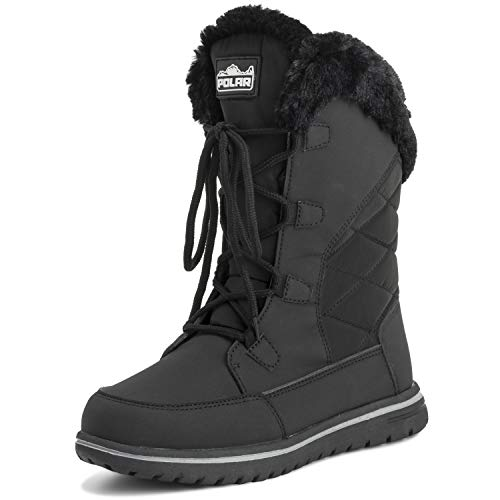 Polar Womens Quilted Duck Cuff Snow Lace Up Waterproof Faux Fur Outdoor Boots - 9 - BLK40 - Waterproof Women Boots Snow