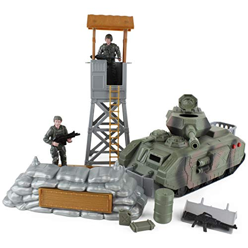 Boley WH33L5 Defender Army Tank Playset - Includes Toy Tank, Two Army Soldier Plastic Miniature Figurines, and Other Military Accessories and Gear - Pretend Play Action Set for Kids, Toddlers (Call Of Duty World At War Collectibles)