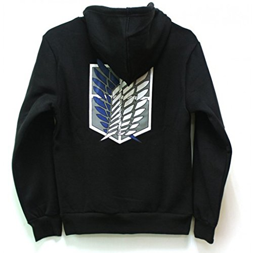 Goqun Attack on Titan Jacket Zip Hoodie Sweatshirts Unisex Cosplay Costume for Boys Adults (Black, -