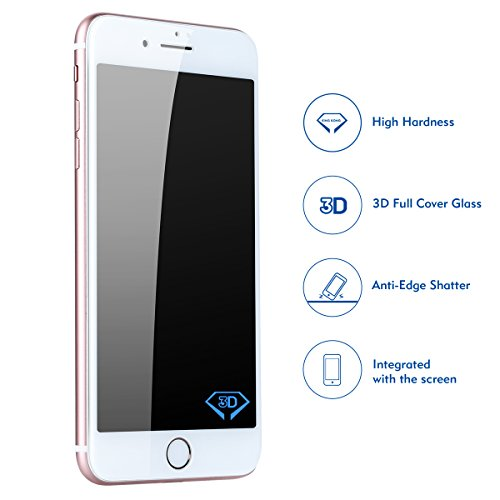 Benks iPhone 8 Plus/7 Plus Tempered Glass Screen Protector with 3D Curved Edge Full Coverage Film Shatterproof 9H Screen Protector for iPhone 8 Plus/7 Plus (White Frame, 5.5-Inch)