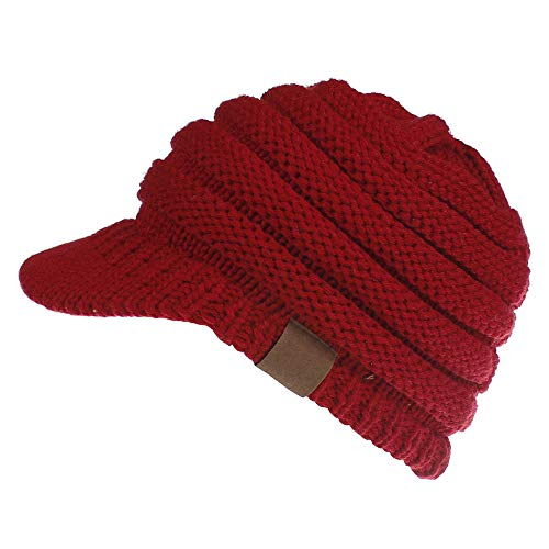 (Women's Warm Chunky Cable Knit Messy Bun Hat Ponytail Visor Beanie Cap (Red))