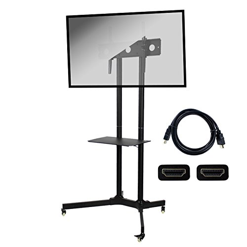 NavePoint Flat Panel TV Cart Height Adjustable 30'' to 65'' Mobile Stand w/Wheels HDMI by NavePoint