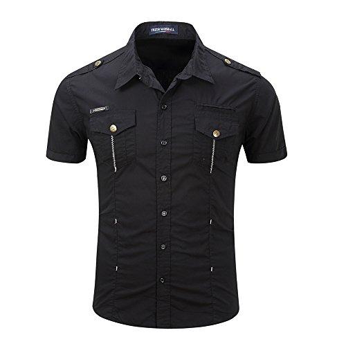 Black Casual Shirt (FASHIONMIA Mens Casual Short Sleeve Button Down Shirts Black 3XL)