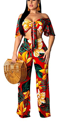 Womens Two Piece Outfits Off The Shoulder Short Sleeve Crop Tops Long Pants Jumpers Pocket & Belt