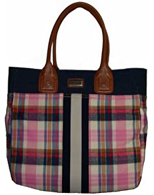 Women's Tote, Large, Pink/Navy Plaid