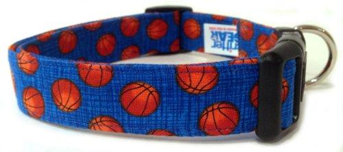 Adjustable Dog Collar in Blue Basketballs (Handmade in The U.S.A.)