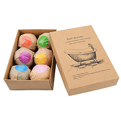 Colorful Bath Bombs Gift Set 6 Dry Skin Moisturize Organic and Natural Bath Bombs Kit Perfect for Bubble Spa Bath Handmade Birthday Mothers day Christmas Gifts idea For wife girlfriend and kids