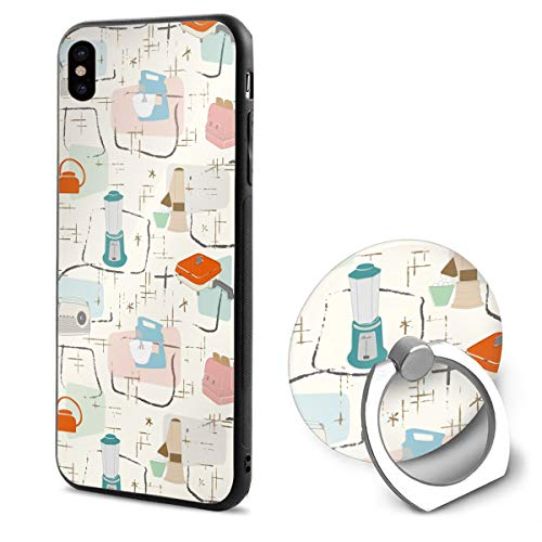 Watercolor Kitchen Tools TPU Case Ring Bracket Compatible iPhone X Cover 5.8 Inch