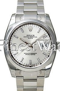 Rolex Date 34mm Blue Dial Stainless Steel Men's Watch 115200