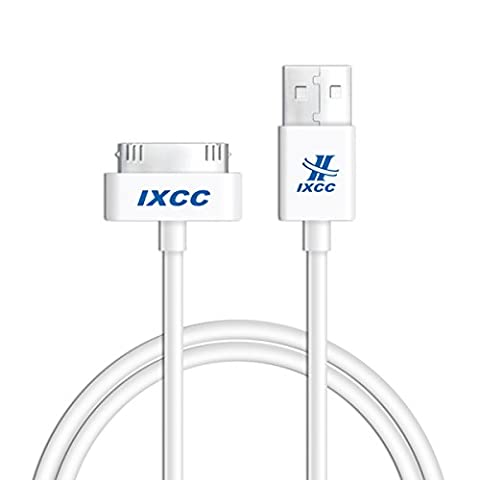 iXCC 3ft Apple MFi Certified 30 pin to USB Sync and Charge Cable for iPhone 4/4s, iPad 2/3, iPod 1-6 Gen - (Iphone 4s Charge Cable Short)