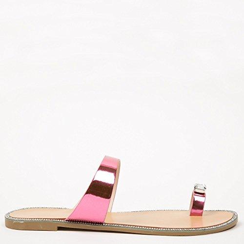 Ideal Shoes Flip Flops Metallic mit Einlage Schmuck und Strass Jamila Fuchsia